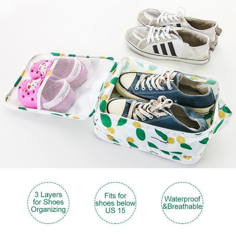 Foldable Waterproof Travel Shoe Bag - Holds 3 Pair of Shoes