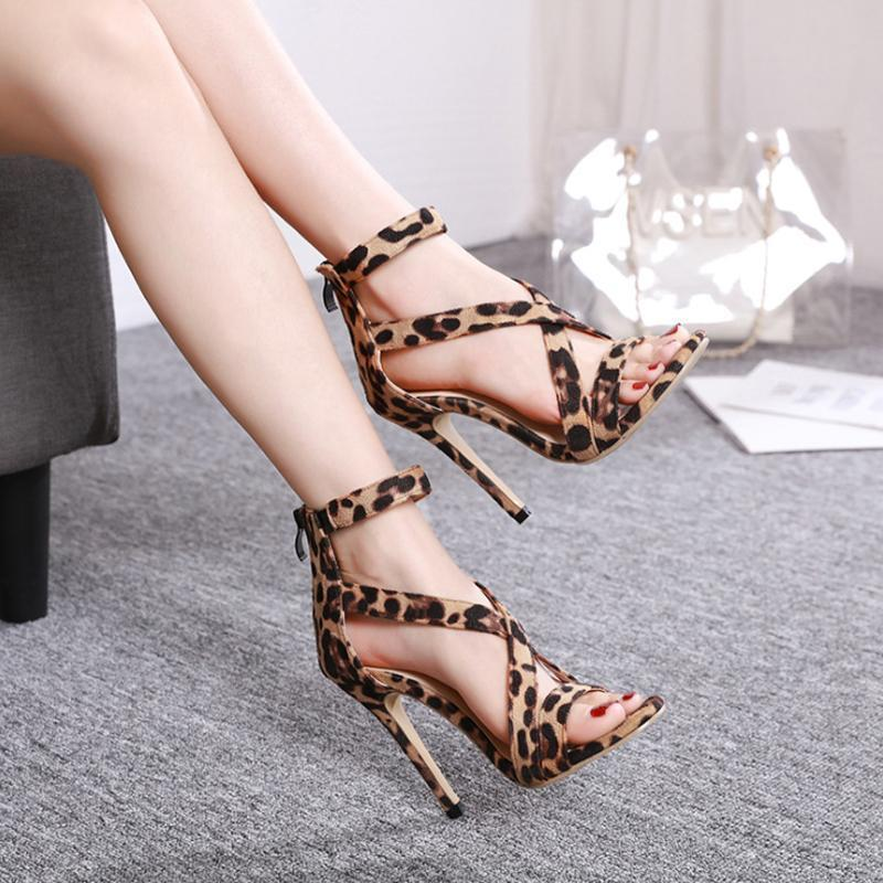 Leopard crossed sandals with back zipper