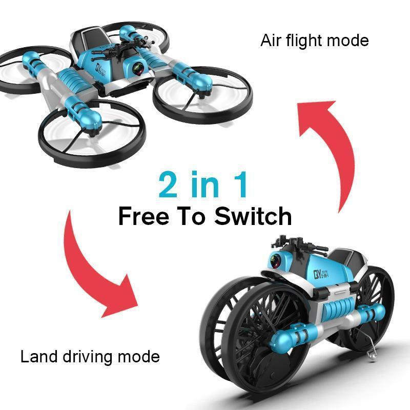 2 in 1 Folding RC Drone and Motorcycle Vehicle