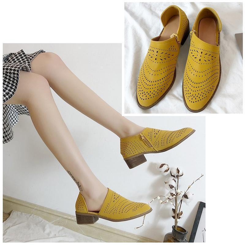 Breathable Hollow Zipper Shoes