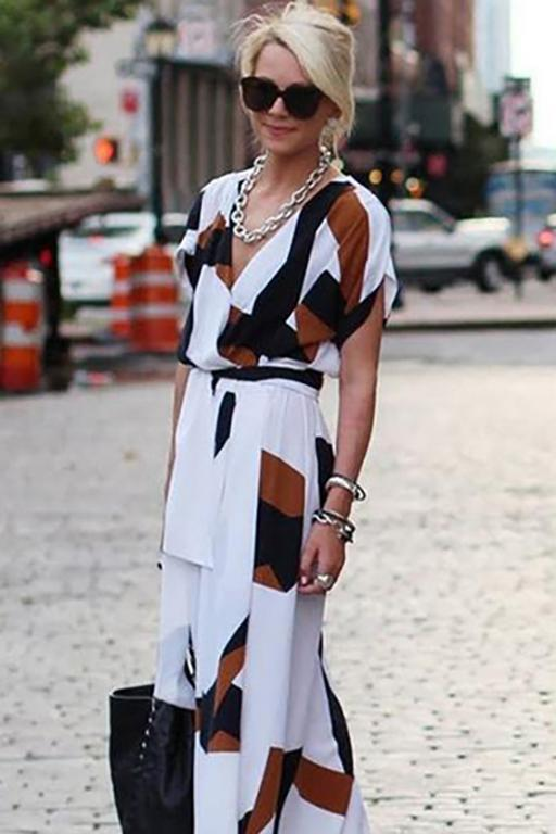 Best Color Block Wrap Short Sleeve Maxi A-line Dress