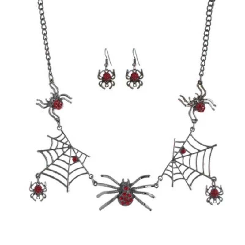 Halloween Jewelry Creative Necklace Spider Web Pendant & Chain