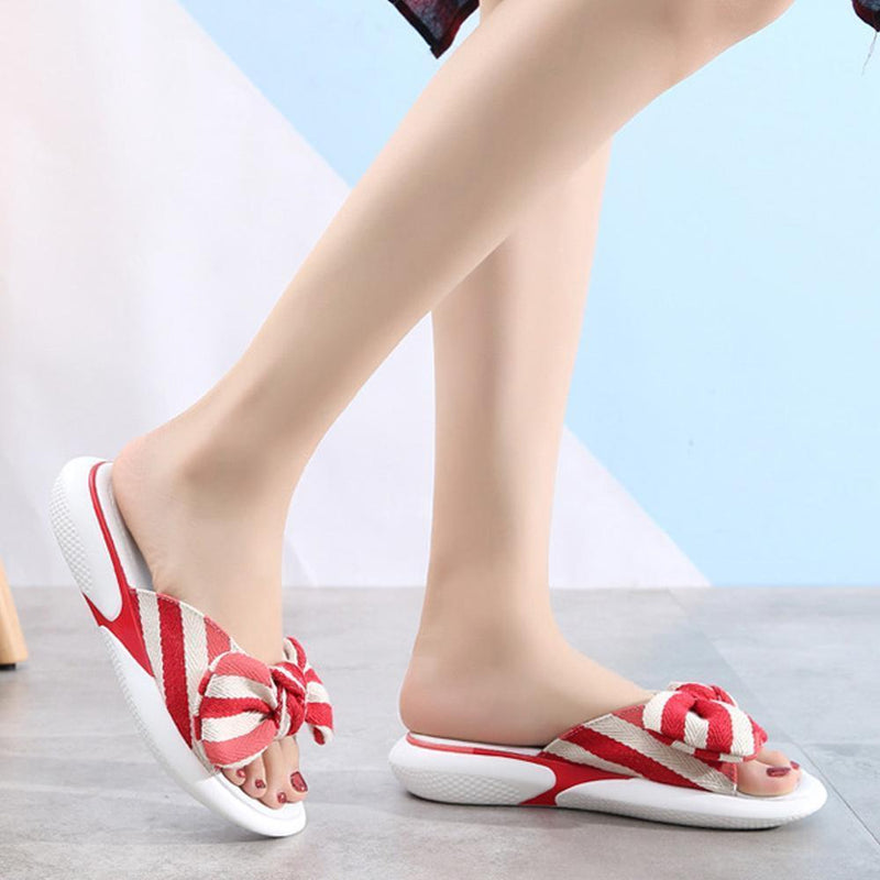 Fashion Open Toe Wedges Bowties Stripe Slides Slippers