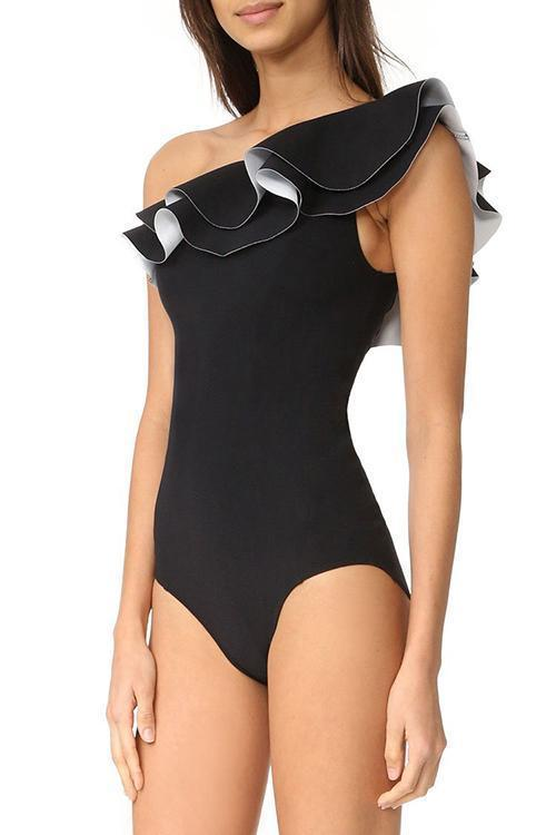 New Layered Ruffle One Shoulder One Piece Swimsuit in Black.MC