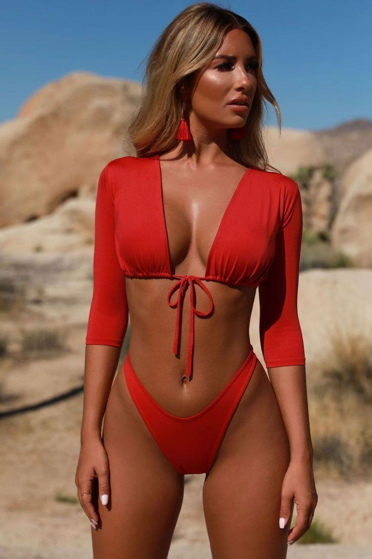 New High Cut Tied Front Half Sleeves Brazilian Bikini Swimsuit in Red.mc