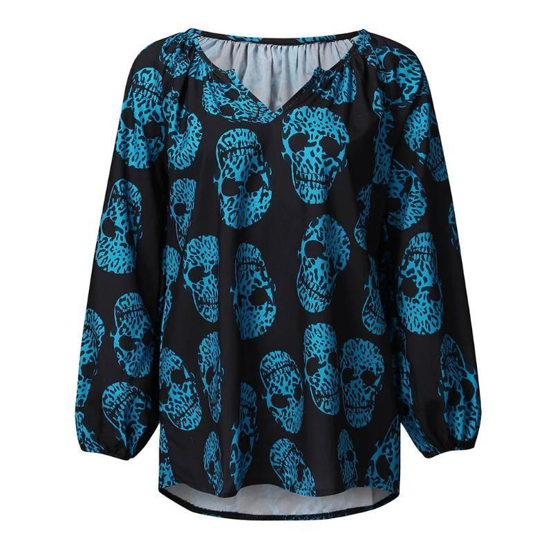 Halloween New Women's Casual Printing V-neck Long-Sleeved Shirt