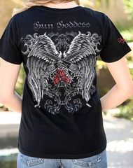 Gun Goddess Winged Revolvers Short Sleeved Tee