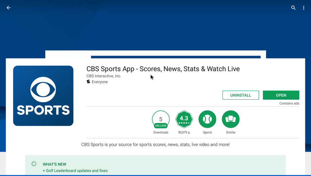 CBS Sports HQ - Free Sports News Channel Android