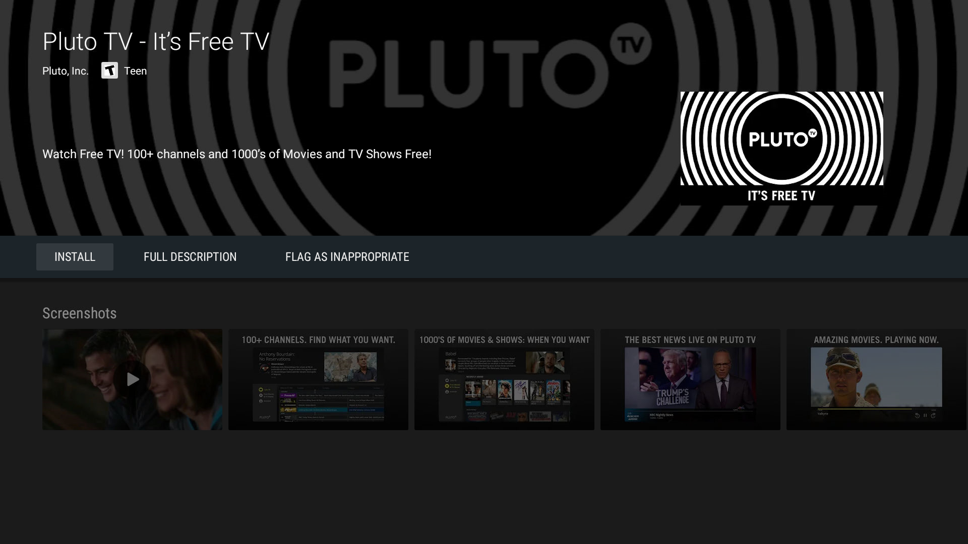 Pluto TV Live TV Streaming Application