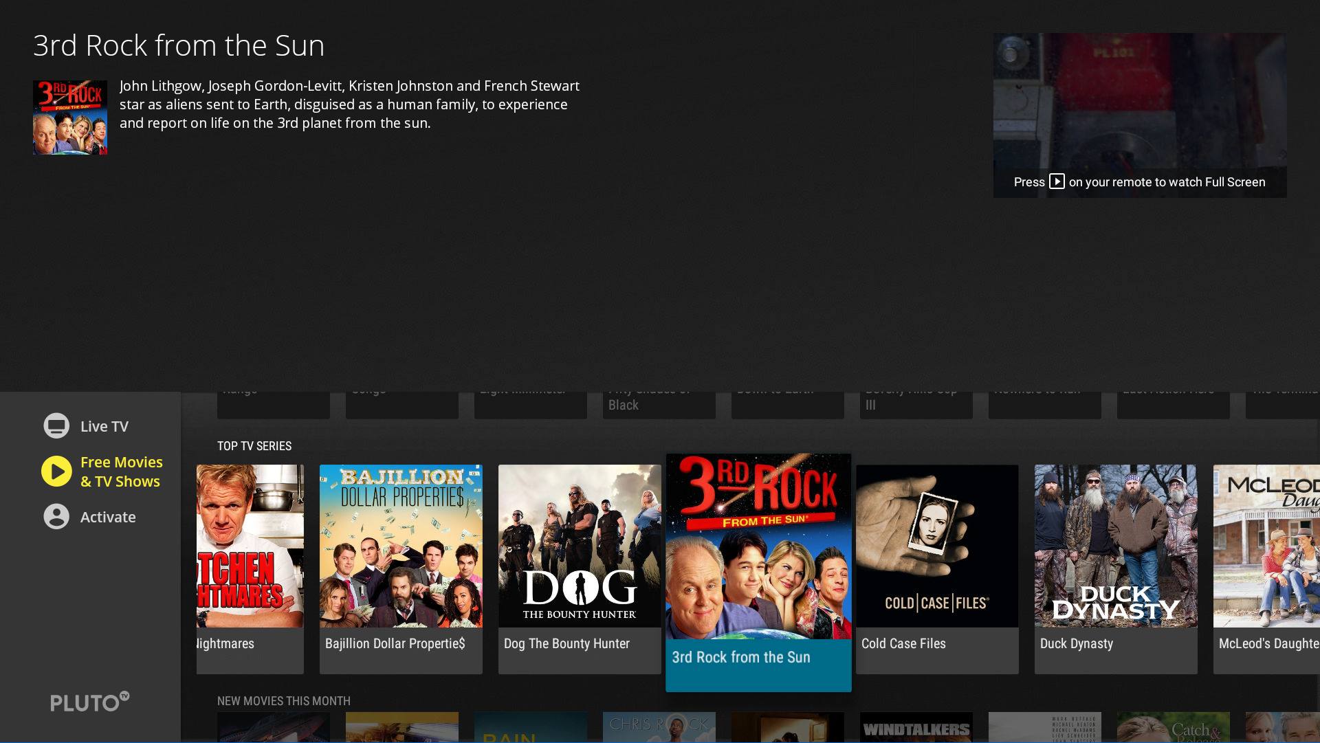 Pluto TV On Demand TV Shows