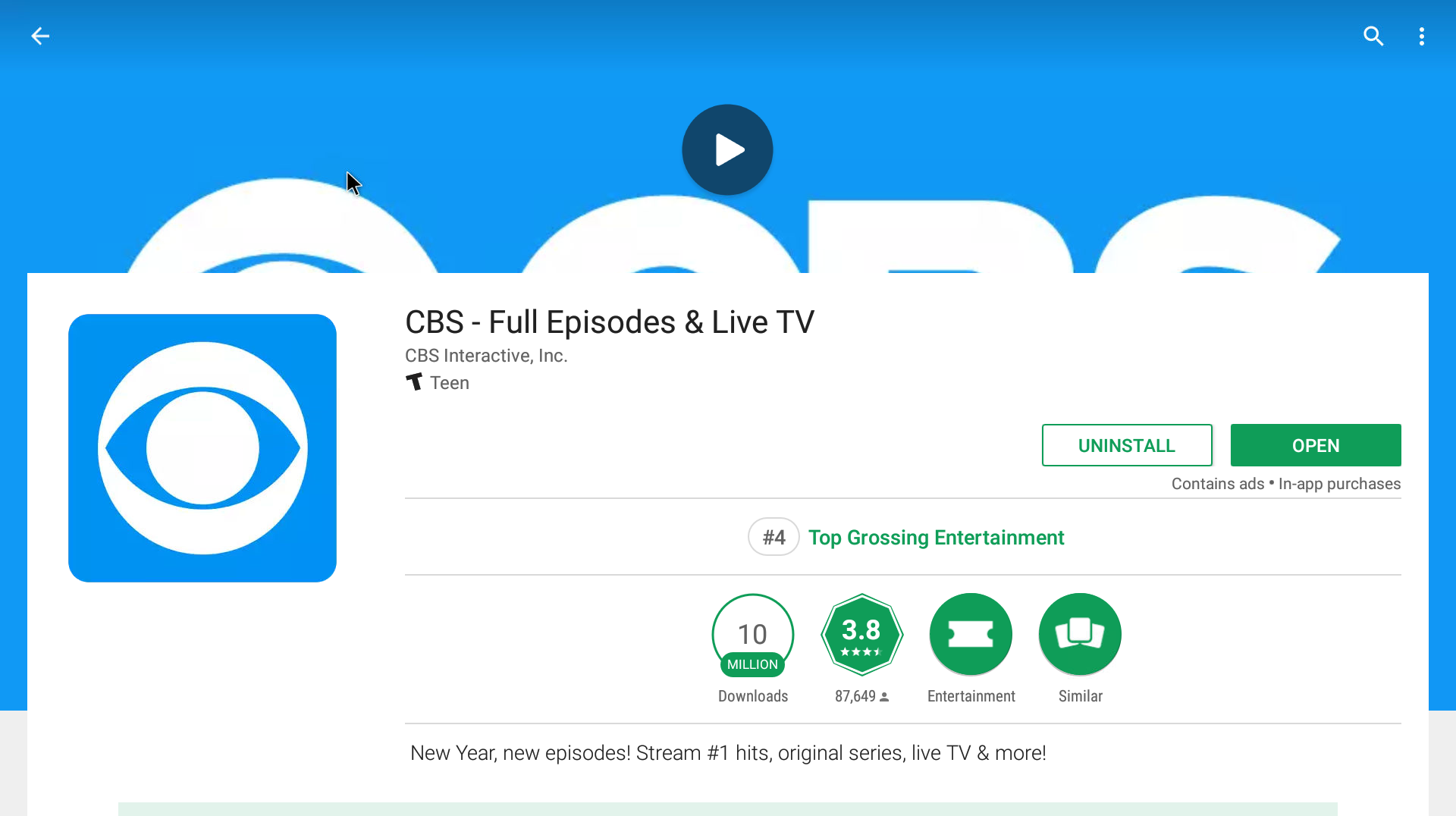 CBS Android Streaming App