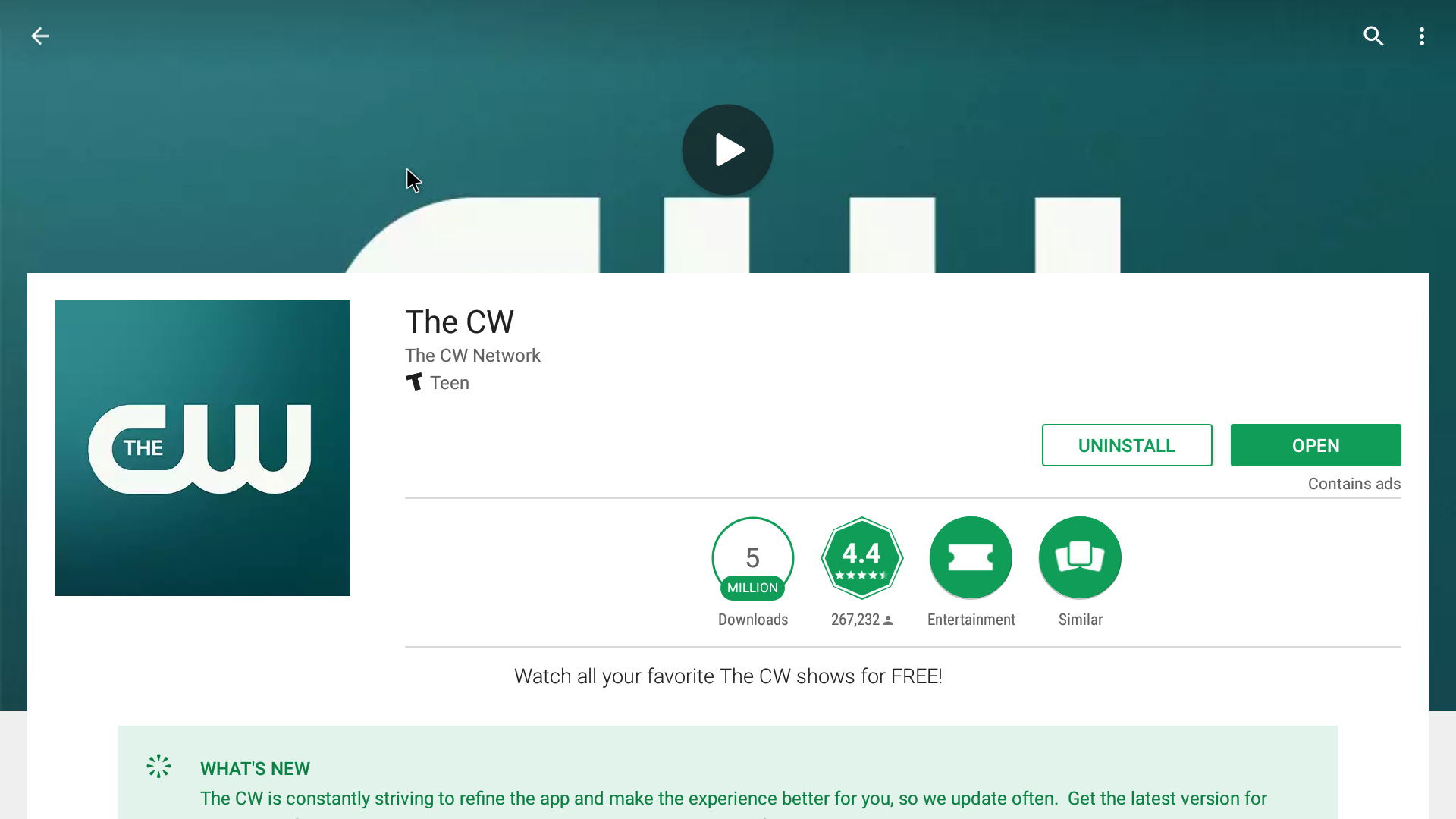 The CW Android Streaming App