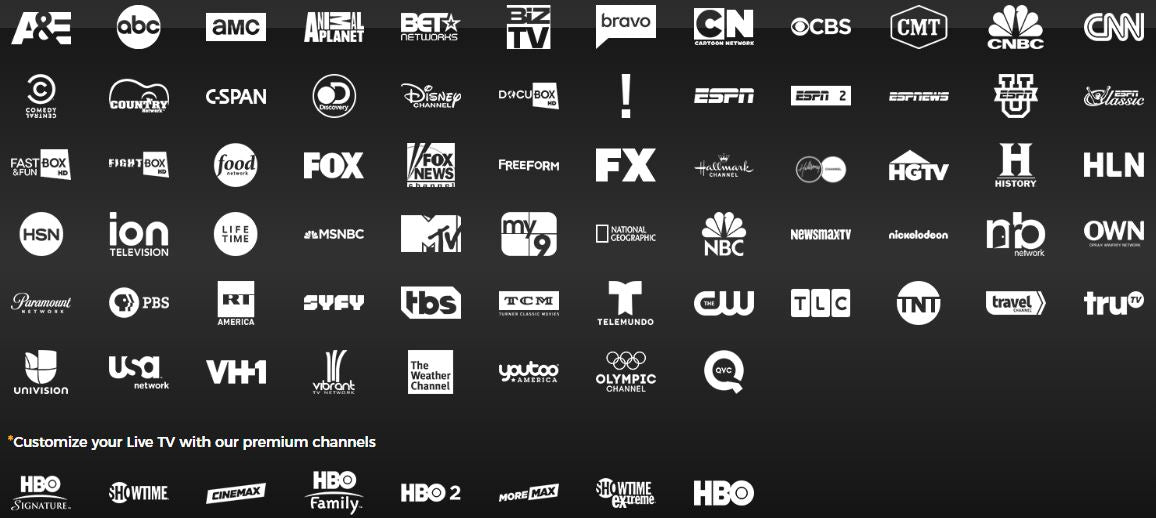 Live TV Streaming Service Channel List