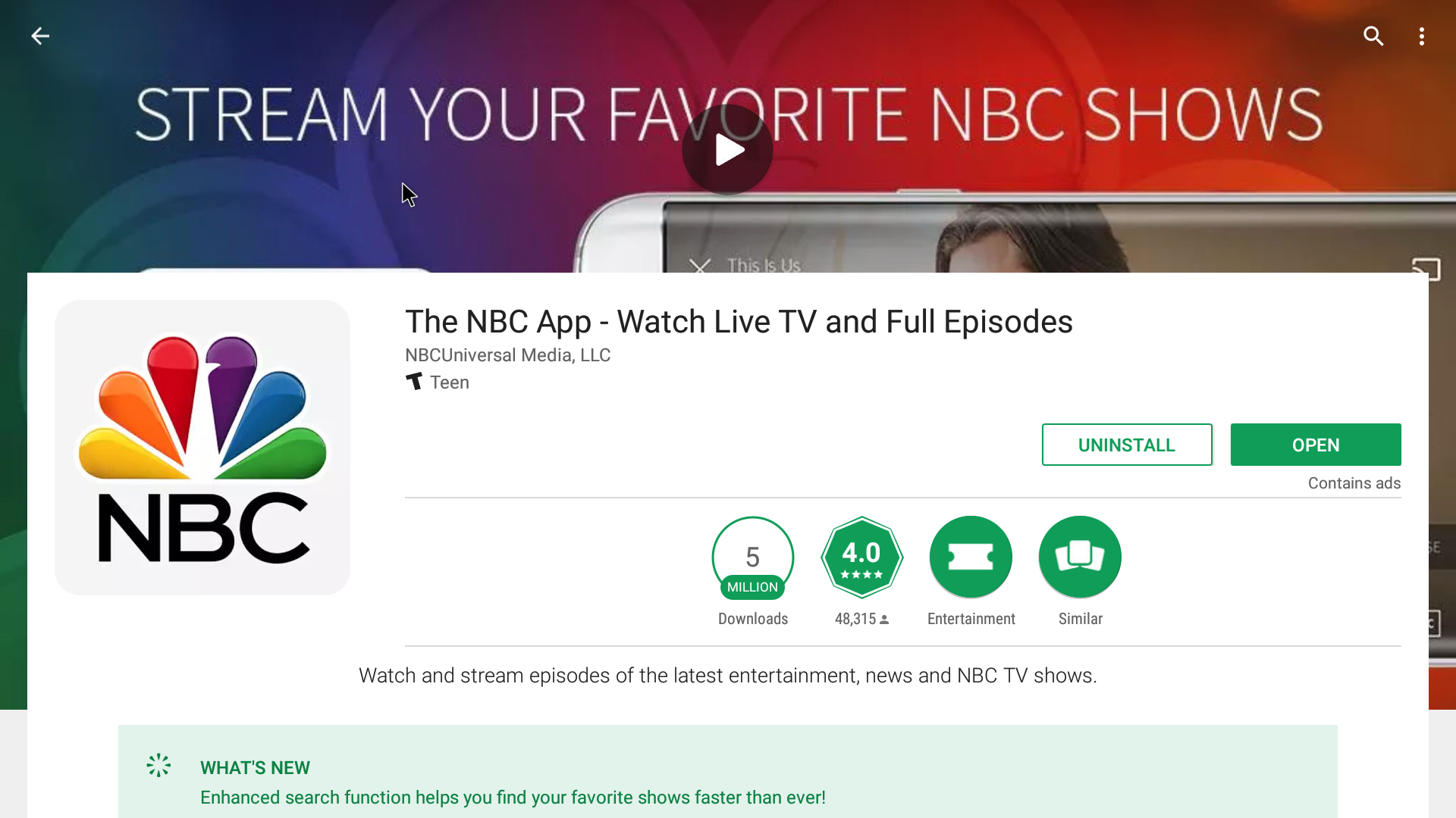 NBC Android Streaming App