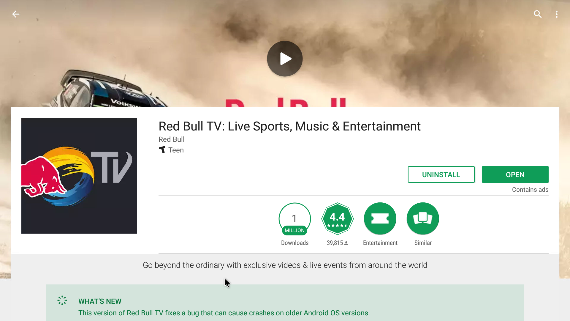 Red Bull TV Android Streaming App