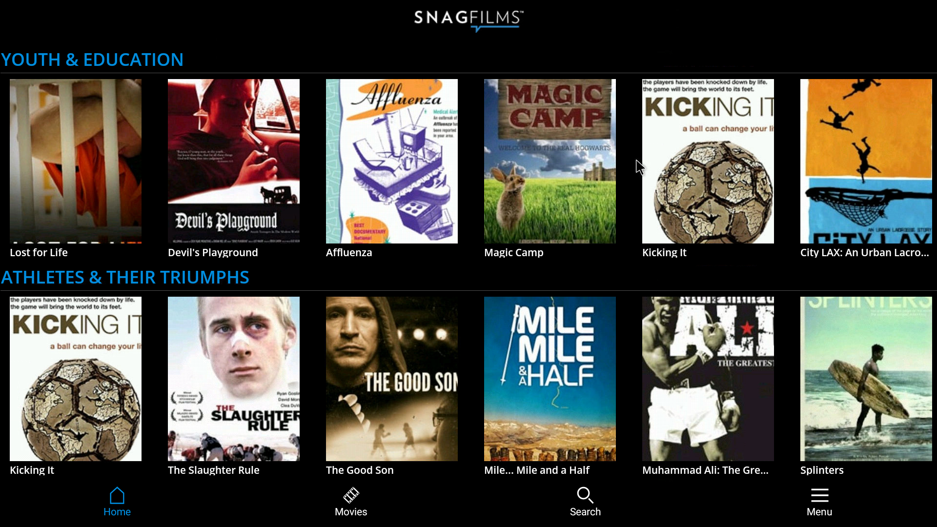 SnagFilms Android Streaming App