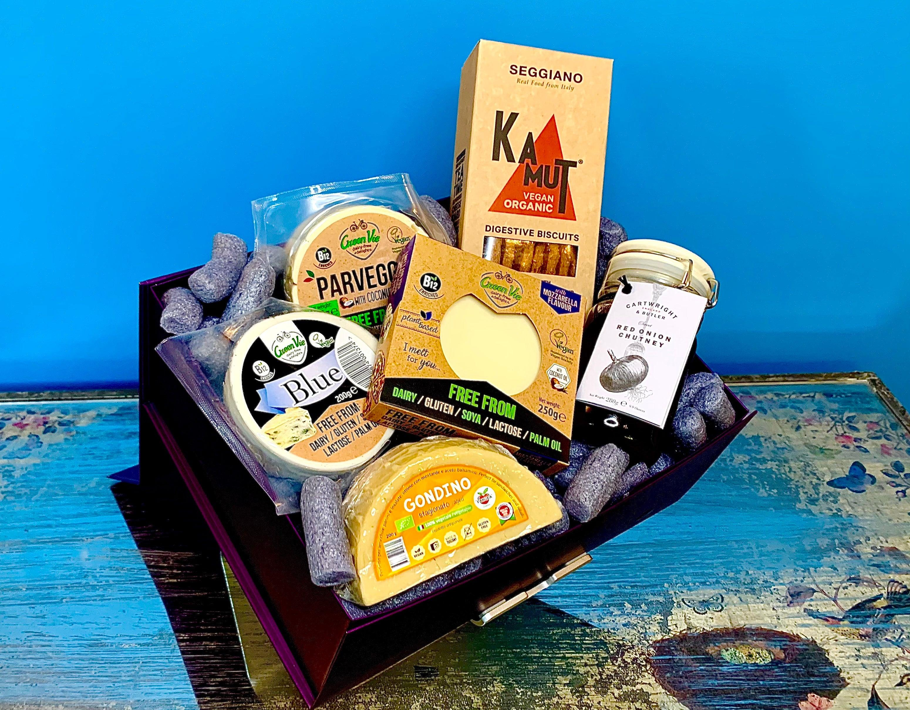 "The ""Surprise Four You"" Vegan Cheese Gift Box 800g (approx cheese weight) - Celebration Cheeses"
