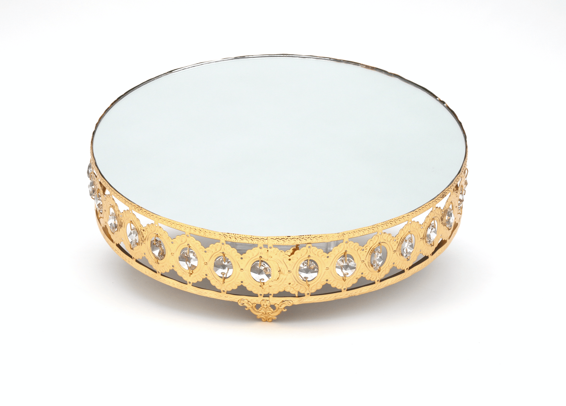 "Gold Mirrored Cake Stand Hire 12"" - Celebration Cheeses"