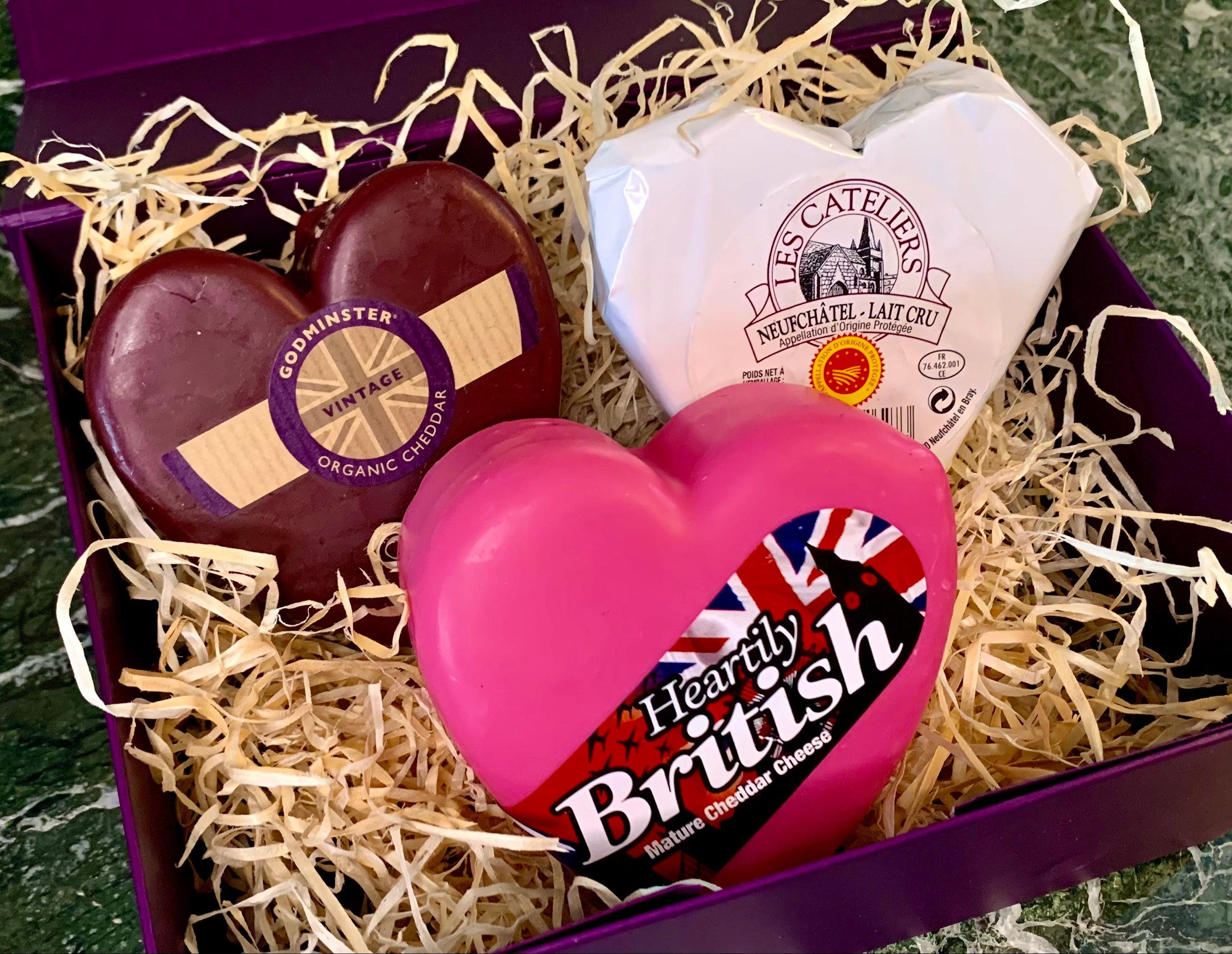 """The Three of Hearts"" Cheese Gift Box 600g (cheese weight) - Celebration Cheeses"