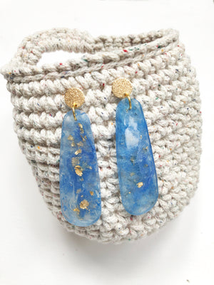 Azul with Golden Flakes Drop Earrings By Sheena Solis