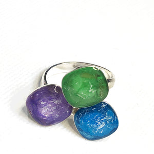 Ocean Eyes Tri-colour Statement Ring by Sheena Solis