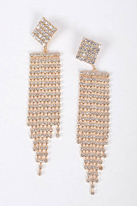 RHINESTONE GEOMETRIC DROP EARRINGS