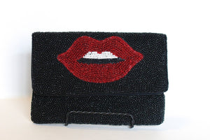 BLACK LIP MINI BEADED PURSE