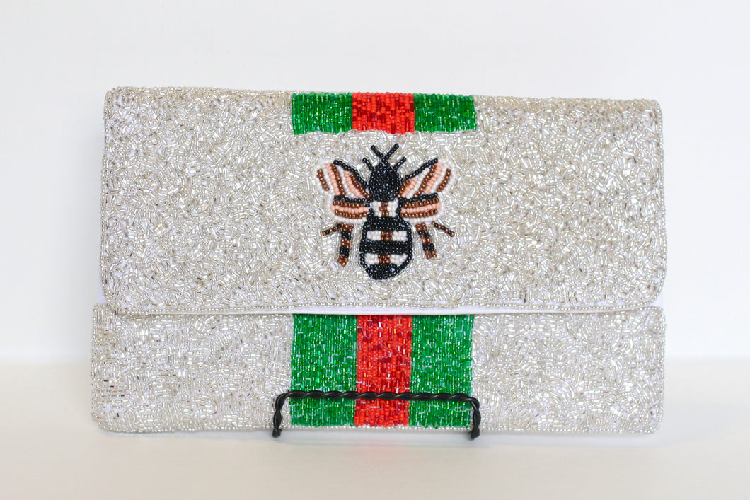 CHAMPAGNE BEE BEADED PURSE