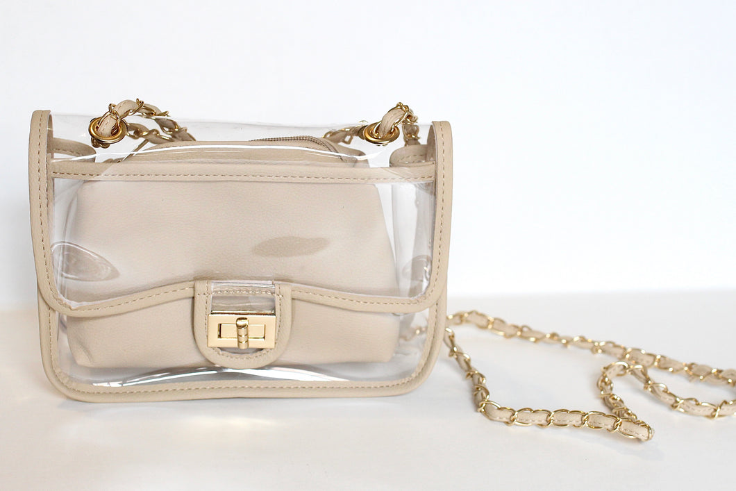 NUDE DETAIL CLEAR PURSE