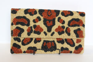 CHEETAH BEADED PURSE