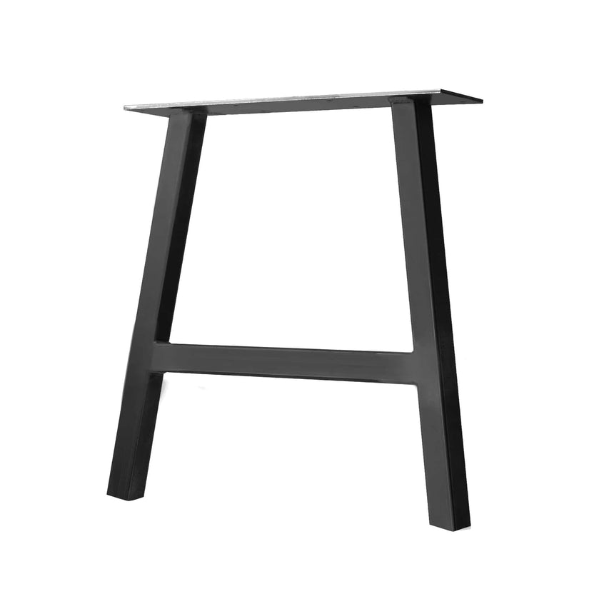 "Semi Exact A-Frame Table & Bench Leg - 2"" x 2"" Tube Steel - 13"" H, 10"" W - Jet Black Satin Finish"