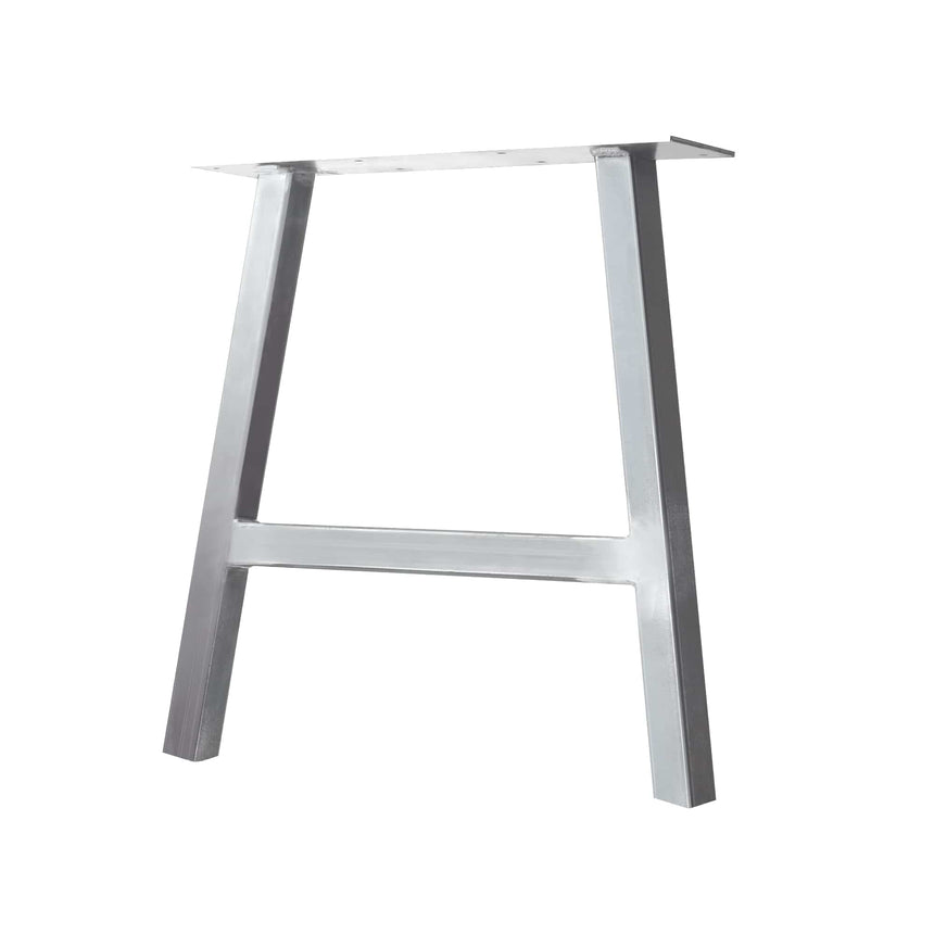 "Semi Exact A-Frame Table & Bench Leg - 2"" x 2"" Tube Steel - 13"" H, 10"" W - Raw Steel Finish"