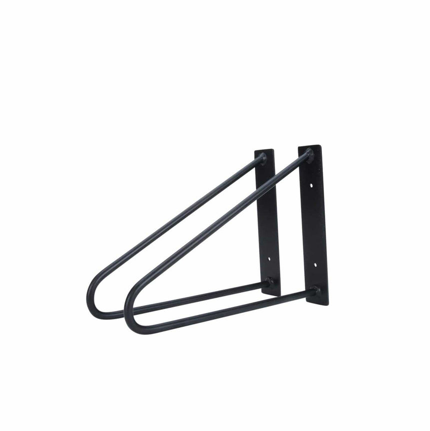 "DIY Hairpin Legs Shelf Brackets Jet Black Satin / Fits 9"" Shelf Pair of Original Hairpin Shelf Brackets 