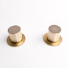 Olympia round concrete and brass taps
