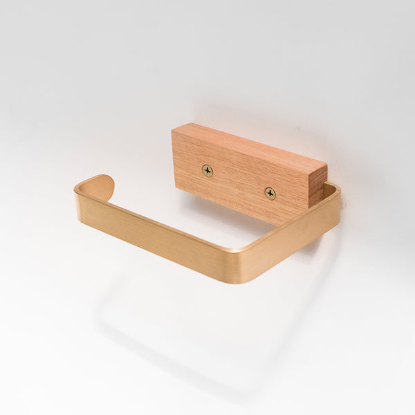 Gilbert timber and brass toilet roll holder