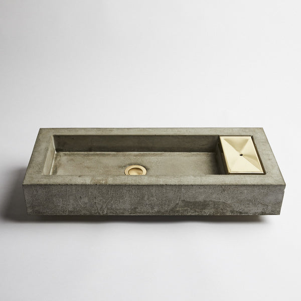 Zoe concrete and brass vanity basin