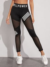 Load image into Gallery viewer, Contrast Fishnet Letter Print Sports Leggings