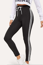 Load image into Gallery viewer, Varsity Tape Side Panel Drawstring Waist Leggings