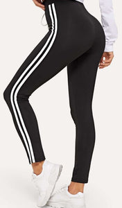 Varsity Tape Side Panel Drawstring Waist Leggings