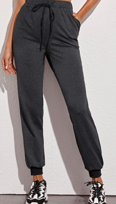 Solid Drawstring Waist Sweatpants