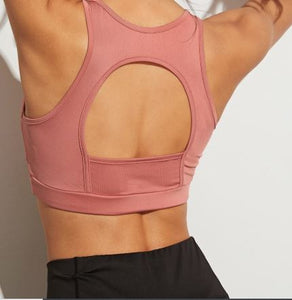 Cut Out Back Solid Sports Bra