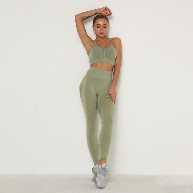 High Waist Sport Leggings & Bra
