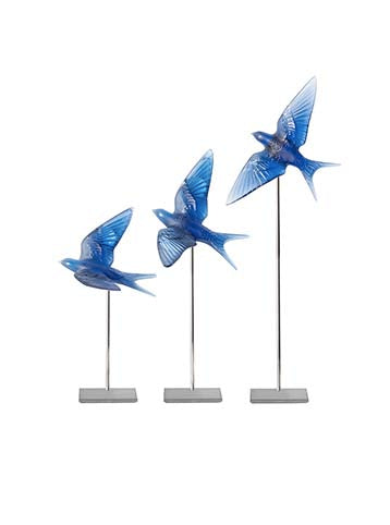 Hirondelles SW Wings Down Wall Scul Blue