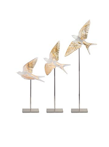 Hirondelles Swallows Wall Sculture Clear & Gold Stamped