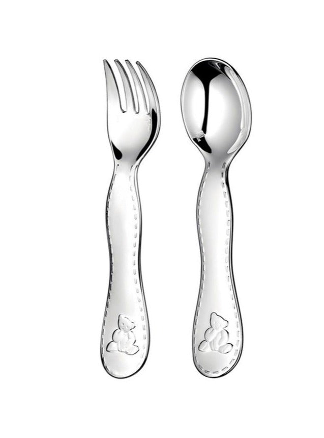 Box of 2 Children's Cutlery in Silver Metal.