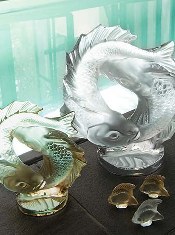 2 Poisson Double Fisch Sculture Gold Luster MD