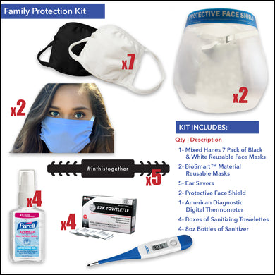 Family Protection Kit with Face Shield - Front Desk Supply