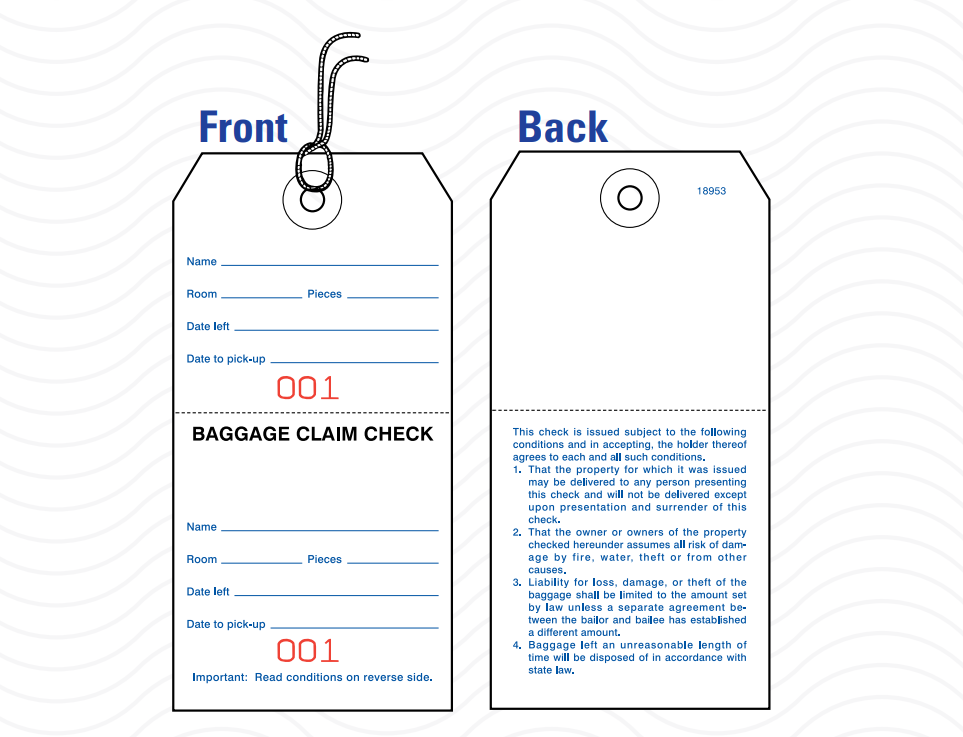 Hotel and Motel Baggage Tag with String - Box of 1,000 - Front Desk Supply