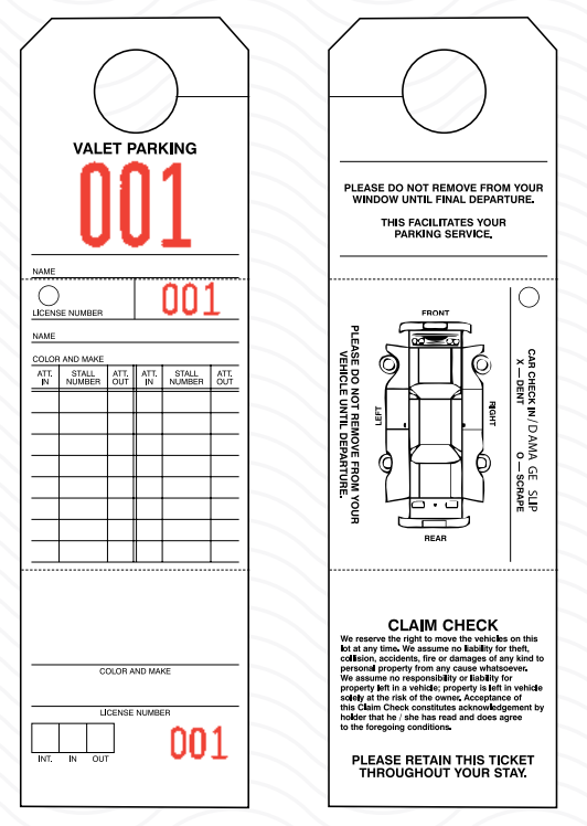Hotel and Motel Parking Tag - Box of 1,000 - Front Desk Supply