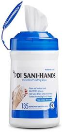 Sani-Hands Standing Sanitizer Wipe Dispenser with Trash Receptacle + 2 Tubs of Wipe Refills - Front Desk Supply
